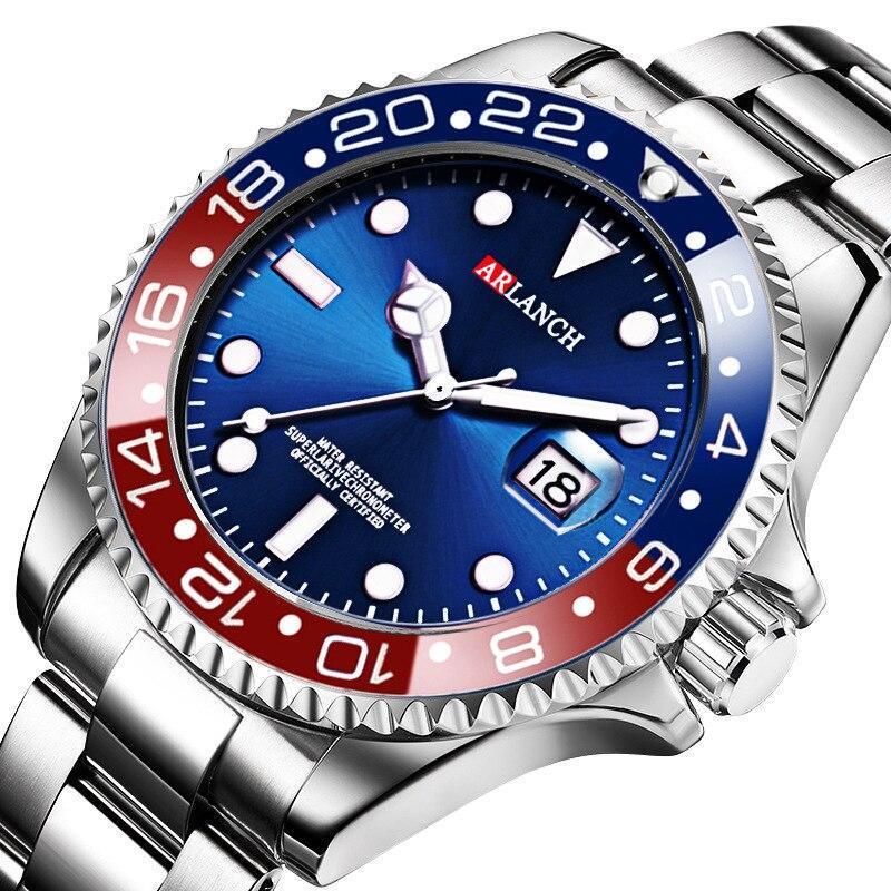 ホットarlanch男性の発光大型ダイヤルメンズ腕時計クォーツ腕時計男性グリーン男性時計スポーツウォッチ男性レロジオmasculino_画像2