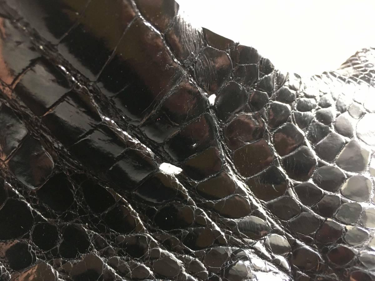 CRX-16★極上クロコダイルワニ革鰐アリゲーターレザークラフトブラックシャイニーグレージグハギレ※画像物を送ります_画像7