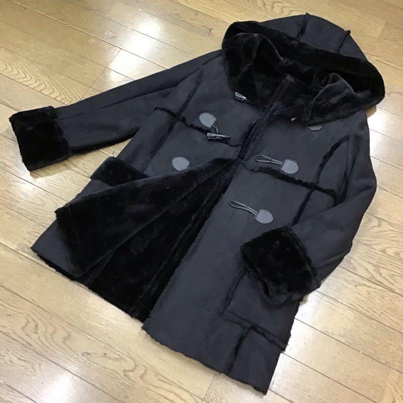 snidel フェイクムートンコート フリーサイズ ブラック フード付き 無地 カジュアル ブランド古着 スナイデル 黒色 送料無料 サ111