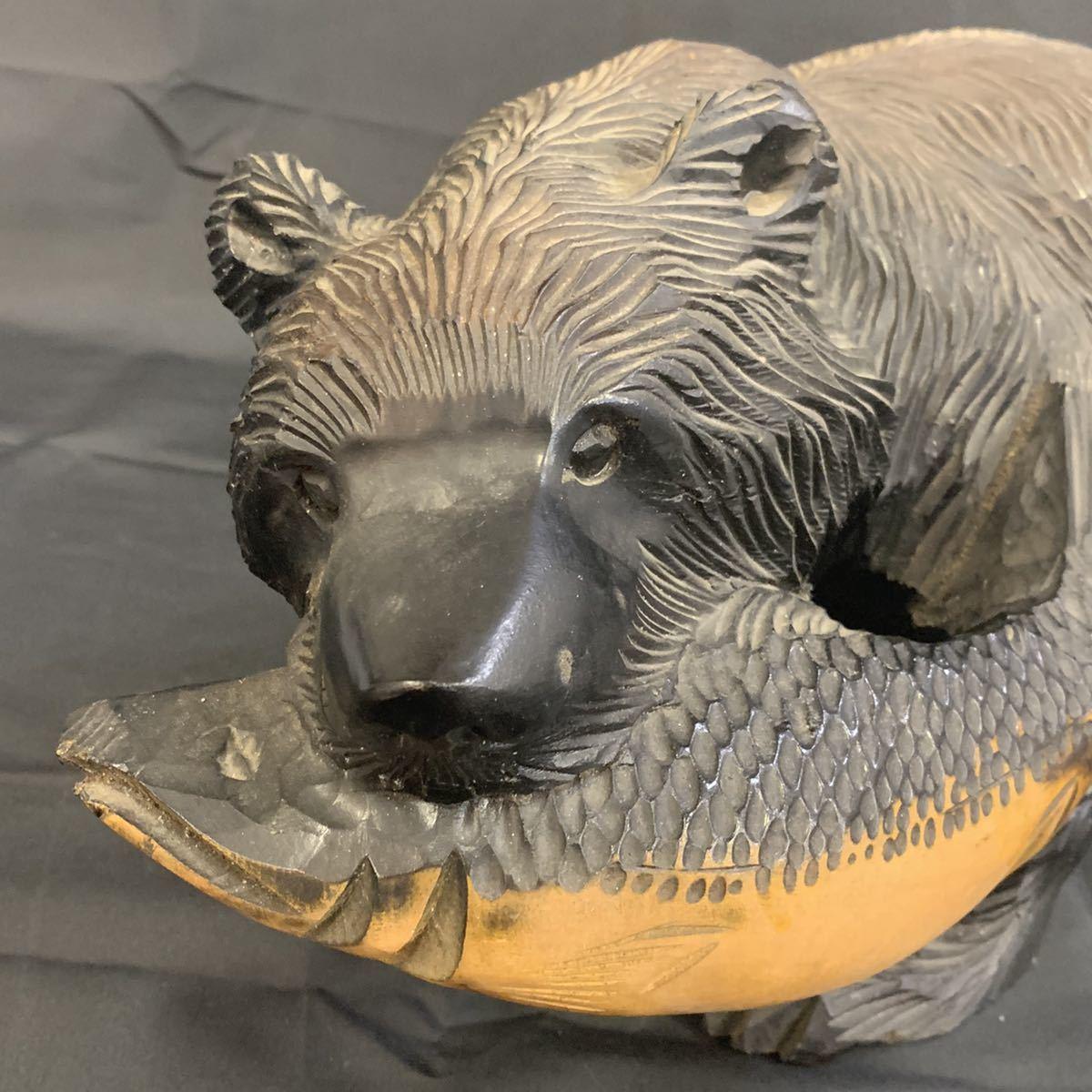空89)木彫りの熊 くま 北海道 民芸品_画像5