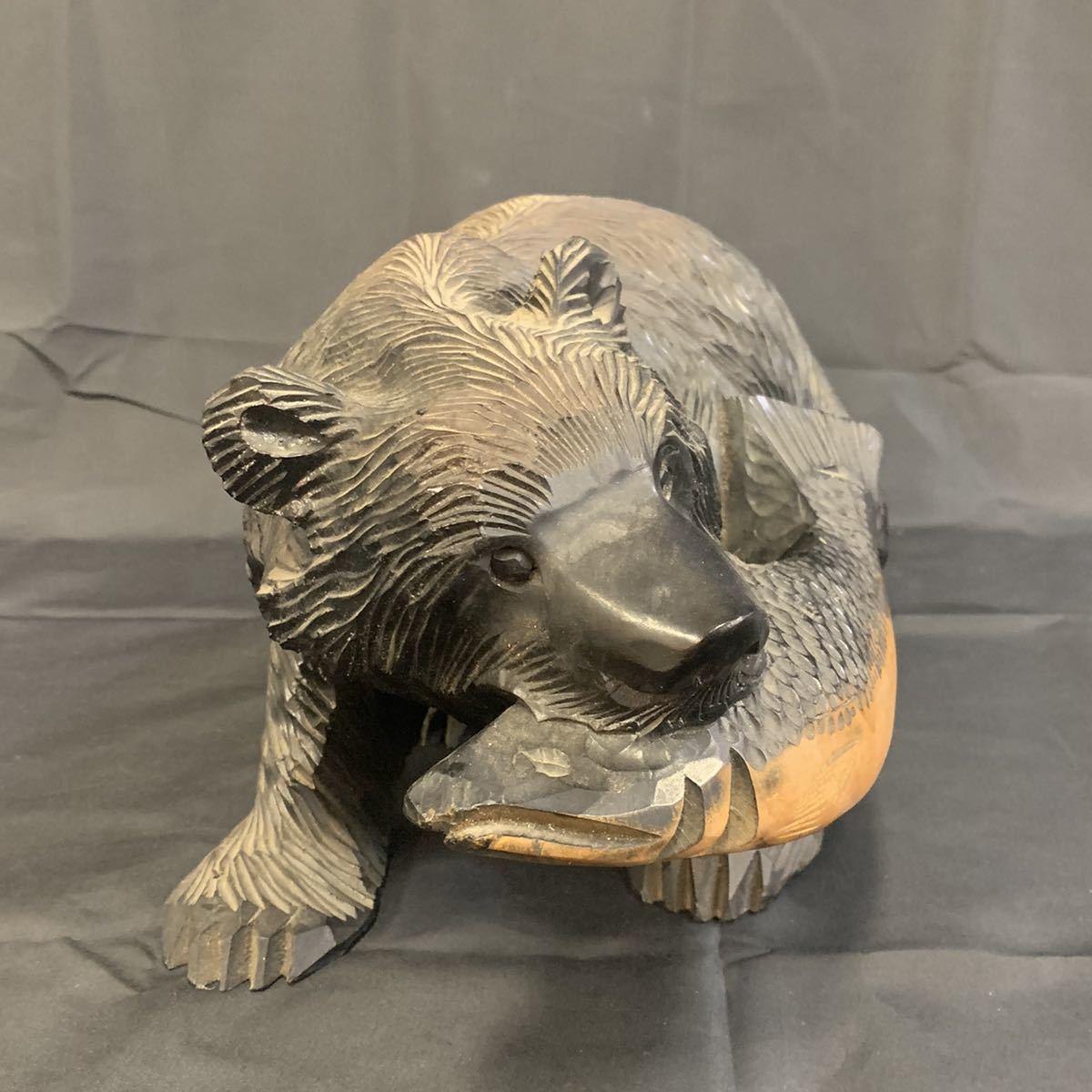 空89)木彫りの熊 くま 北海道 民芸品_画像2