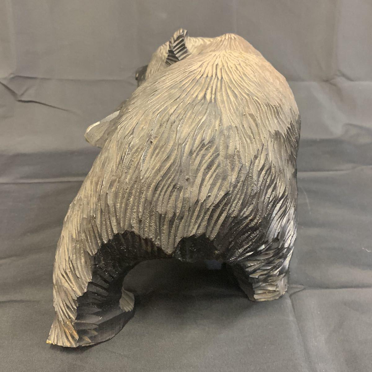 空89)木彫りの熊 くま 北海道 民芸品_画像4