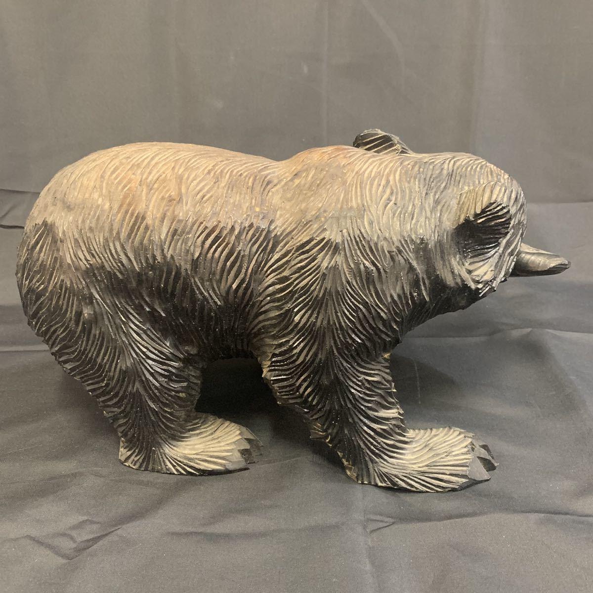 空89)木彫りの熊 くま 北海道 民芸品_画像3