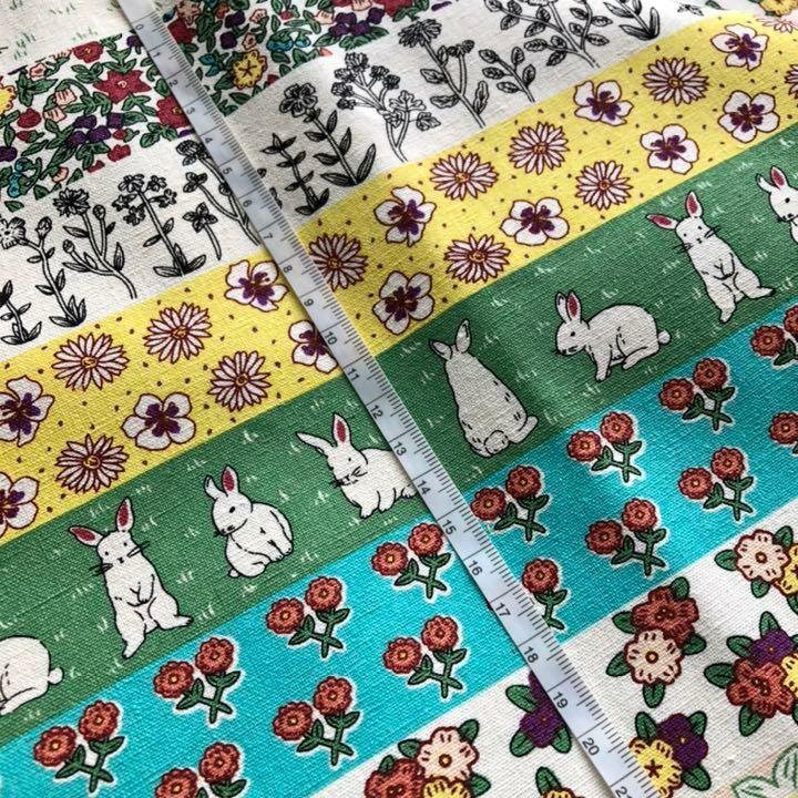 ウサギと花 キャンパス リネン 輸入生地 ハギレ 北欧 カットクロス 花柄 帆布