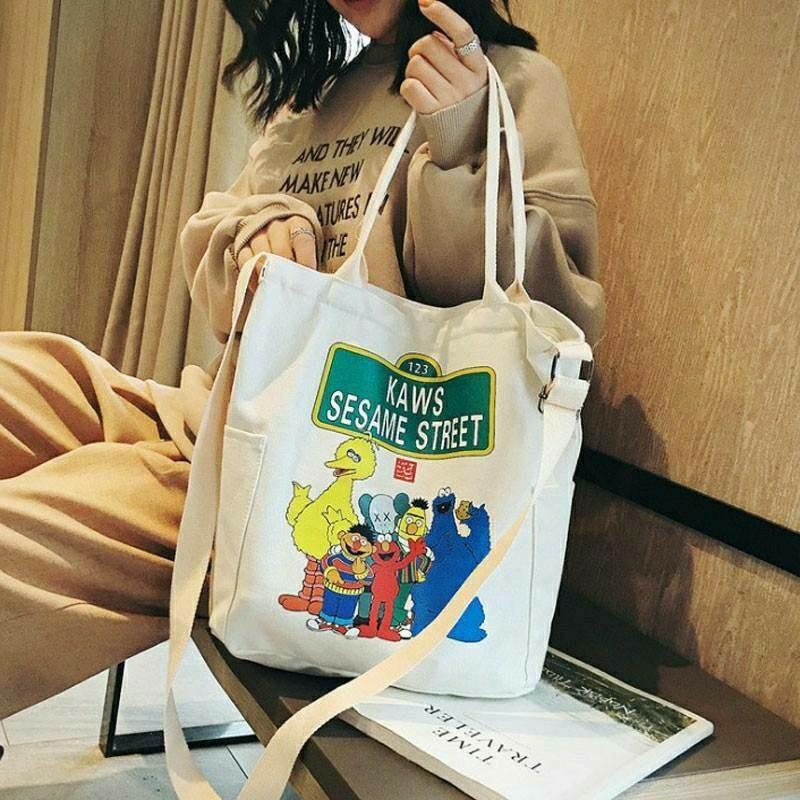 トートバッグ セサミ レディース 2way チャック ショルダー キャンバス 鞄 エルモ クッキーモンスター SESAME キャラ