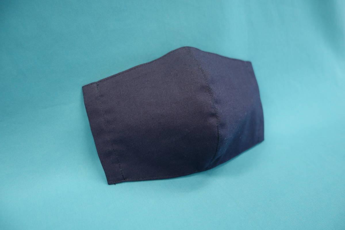 ◆紺 ◆マスク用ゴム黒 ◆シンプル ◆綿100% ◆表裏 紺 ◆仕事 ◆手作り ◆マスクカバー ◆インナー ◆職場 _画像1