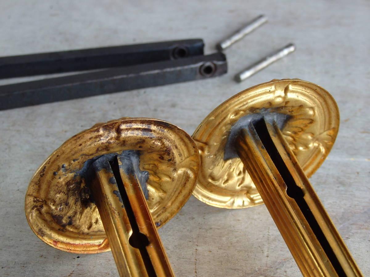 フランスアンティーク カーテンフックのパーツ 2個セット 家具パーツ ブロンズ 青銅 蚤の市 ブロカント ペア _画像6