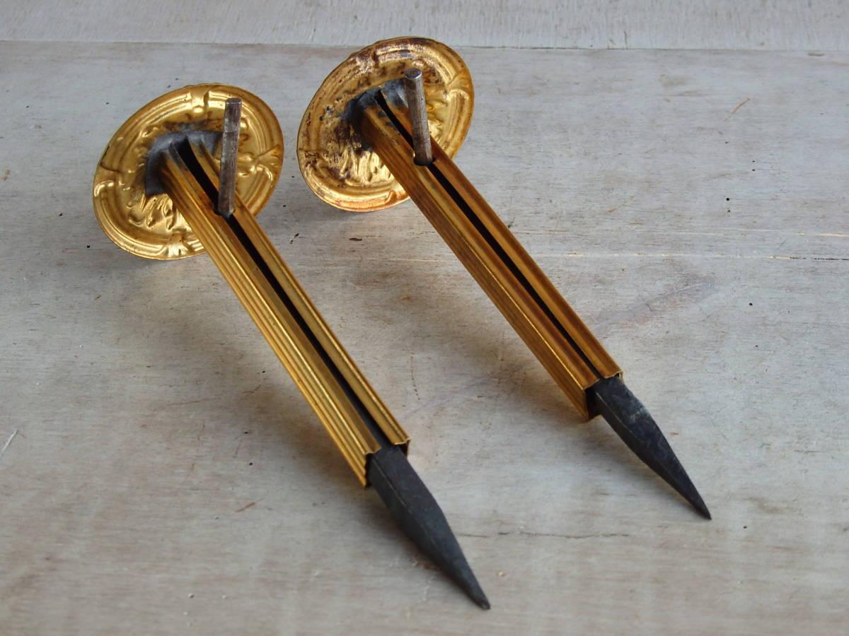 フランスアンティーク カーテンフックのパーツ 2個セット 家具パーツ ブロンズ 青銅 蚤の市 ブロカント ペア _画像3