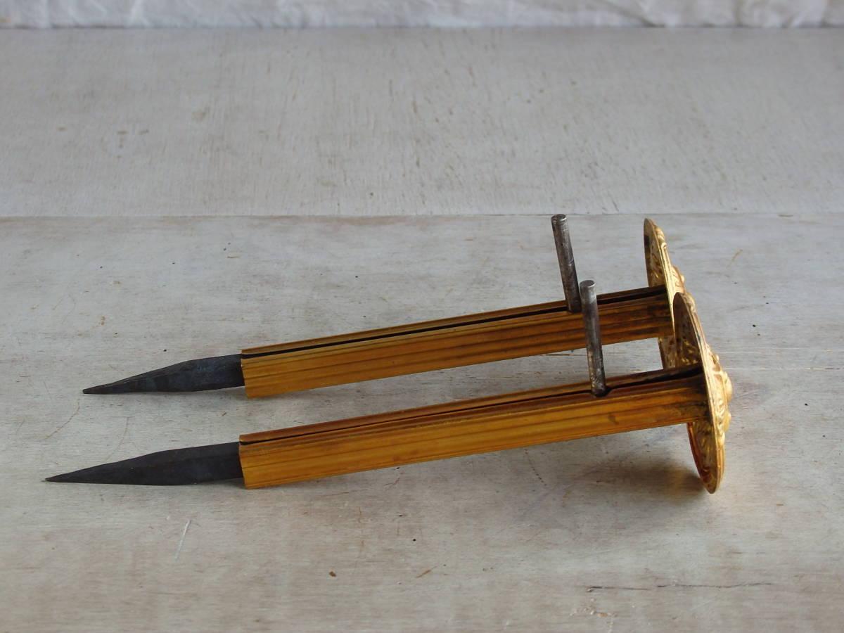 フランスアンティーク カーテンフックのパーツ 2個セット 家具パーツ ブロンズ 青銅 蚤の市 ブロカント ペア _画像9