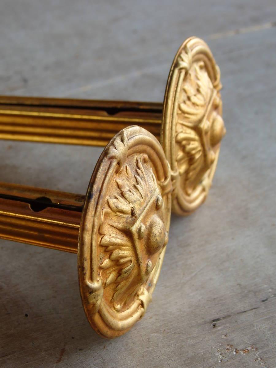 フランスアンティーク カーテンフックのパーツ 2個セット 家具パーツ ブロンズ 青銅 蚤の市 ブロカント ペア _画像7