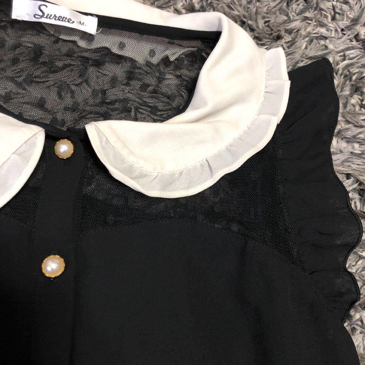 ノースリーブ デコルテシアーxドット柄 透けシフォンシャツ ブラックxホワイト