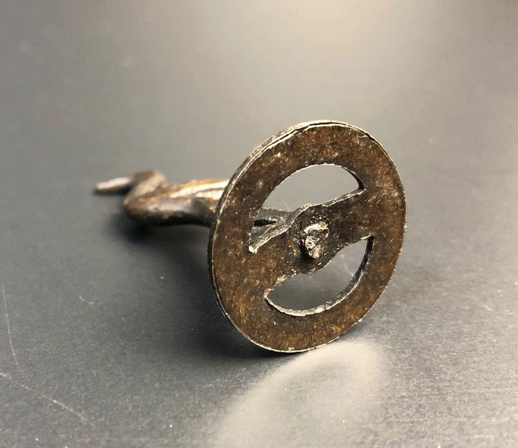 古美術 銅製 鶴 置物 時代 銅置物 古玩 美術 小さいサイズ 盆景 盆裁 ③_画像5