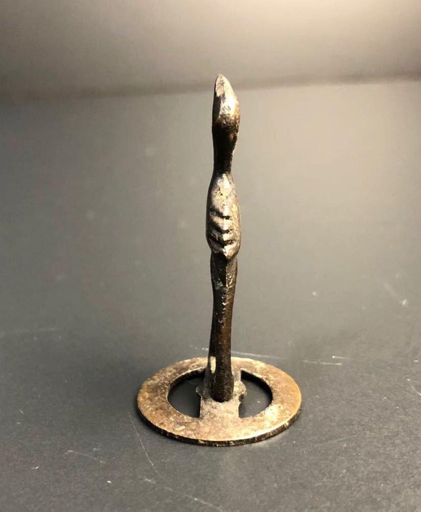 古美術 銅製 鶴 置物 時代 銅置物 古玩 美術 小さいサイズ 盆景 盆裁 ③_画像4