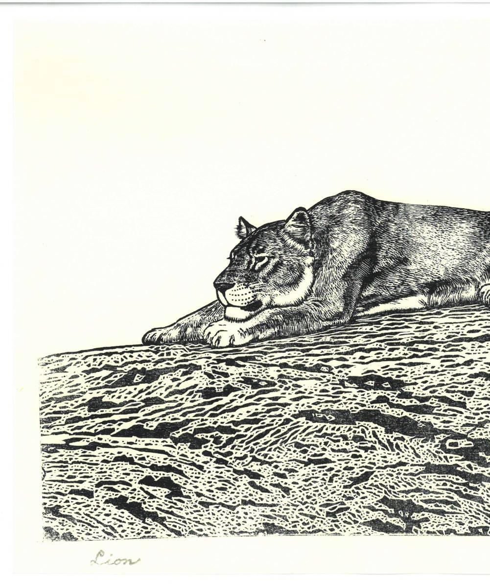 吉田遠志 (Yoshida Toshi) 木版画  ライオン#2 (Lion2)  最高峰の摺師の技をご堪能下さい!!  希少作品 残数枚のみ!!_画像3