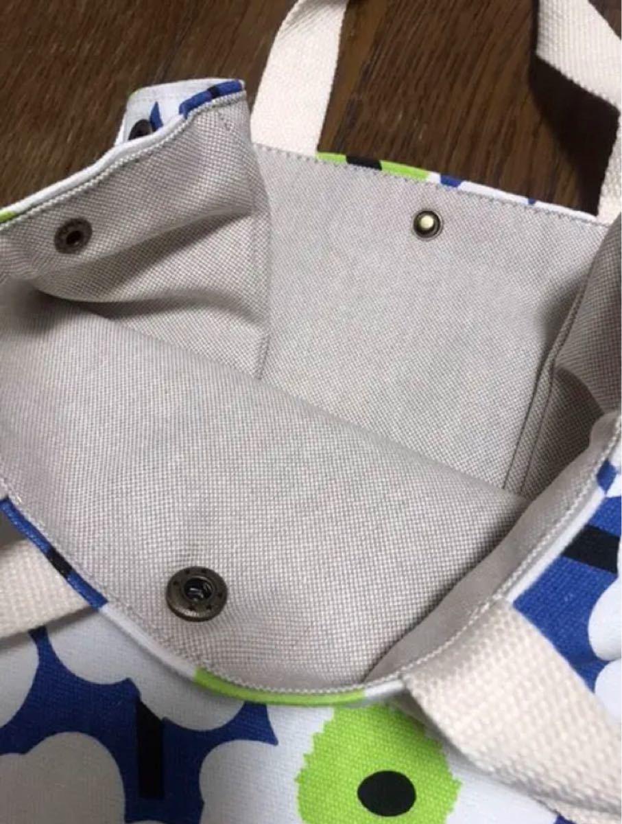 ミニトートバッグ ブルー 花柄 子供用 大人用 エコバッグ