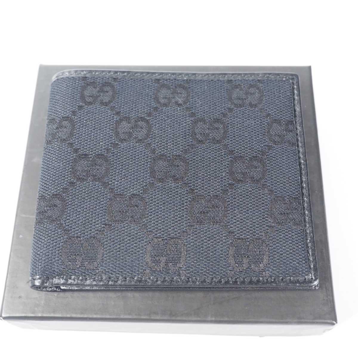 【未使用 送料無料】グッチ GG キャンバス 二つ折り財布 ブラック GUCCI 小銭入れ  財布 526_画像2