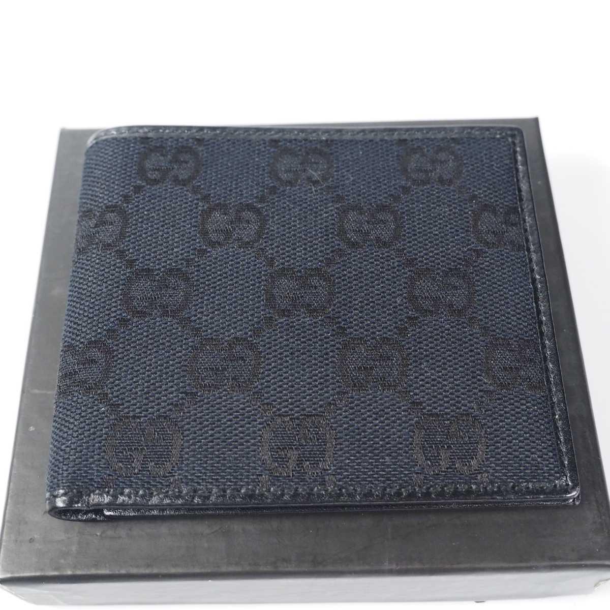 【未使用 送料無料】グッチ GG キャンバス 二つ折り財布 ブラック GUCCI 小銭入れ  財布 526_画像10