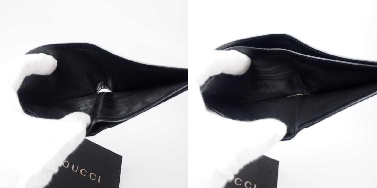 【未使用 送料無料】グッチ GG キャンバス 二つ折り財布 ブラック GUCCI 小銭入れ  財布 526_画像8