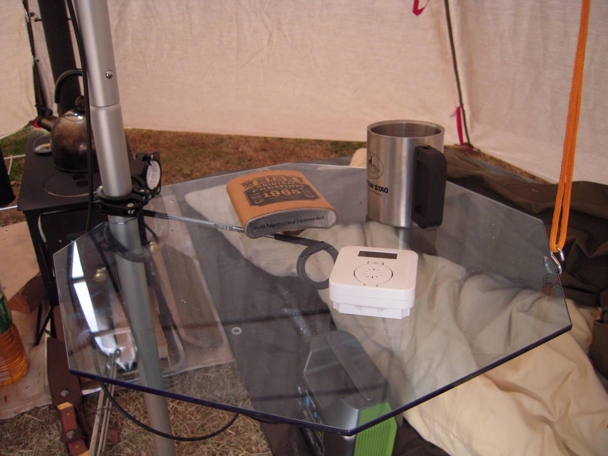【送料無料】アクリルテーブル①:ワンポールテント用テーブル:簡単設置 透明(青)