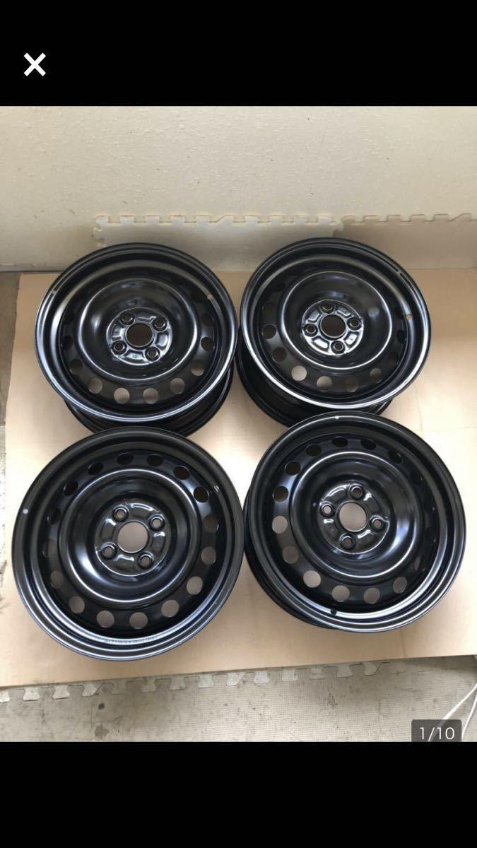 J15x6J DOT 620/6S4 8 T スチールホイール 鉄 ブラック (4本セット)_画像1