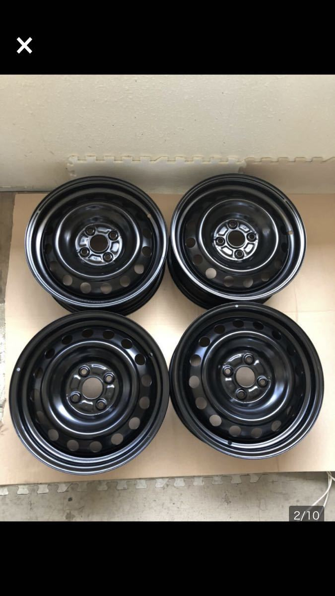 J15x6J DOT 620/6S4 8 T スチールホイール 鉄 ブラック (4本セット)_画像2