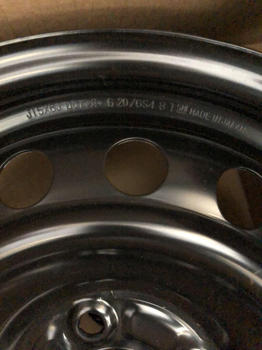 J15x6J DOT 620/6S4 8 T スチールホイール 鉄 ブラック (4本セット)_画像6