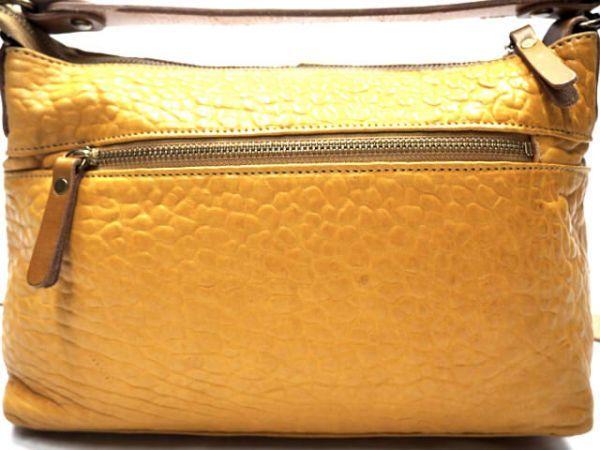 即決★日本製 N.B.★オールレザーショルダーバッグ 本革 本皮 イエロー 黄色 2way ハンドバッグ トートバッグ かばん 鞄 B600 3g._画像3