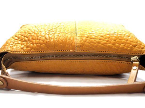 即決★日本製 N.B.★オールレザーショルダーバッグ 本革 本皮 イエロー 黄色 2way ハンドバッグ トートバッグ かばん 鞄 B600 3g._画像6