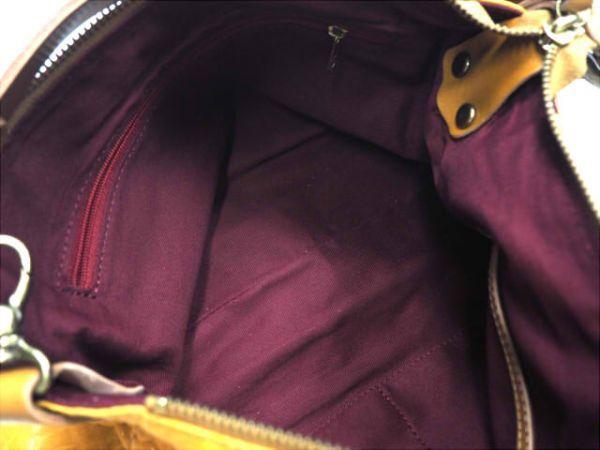即決★日本製 N.B.★オールレザーショルダーバッグ 本革 本皮 イエロー 黄色 2way ハンドバッグ トートバッグ かばん 鞄 B600 3g._画像8