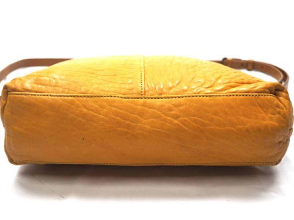 即決★日本製 N.B.★オールレザーショルダーバッグ 本革 本皮 イエロー 黄色 2way ハンドバッグ トートバッグ かばん 鞄 B600 3g._画像7