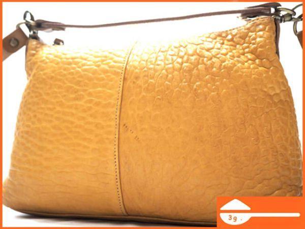 即決★日本製 N.B.★オールレザーショルダーバッグ 本革 本皮 イエロー 黄色 2way ハンドバッグ トートバッグ かばん 鞄 B600 3g._画像1