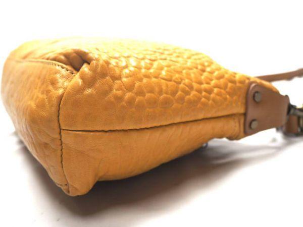 即決★日本製 N.B.★オールレザーショルダーバッグ 本革 本皮 イエロー 黄色 2way ハンドバッグ トートバッグ かばん 鞄 B600 3g._画像4
