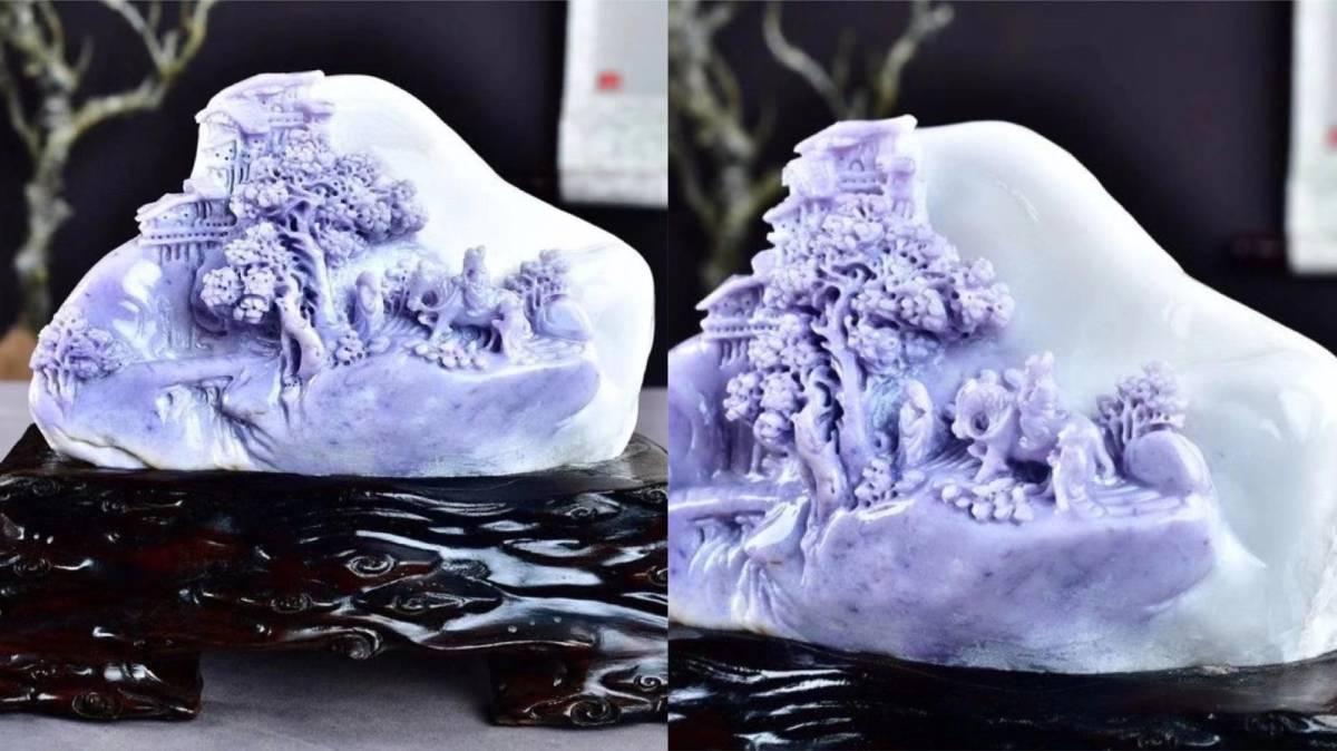 HH☆652極上品 三彩翡翠石彫 山里人家 擺件 手彫り 幅約22×11×17cm,重さ:約2.5kg