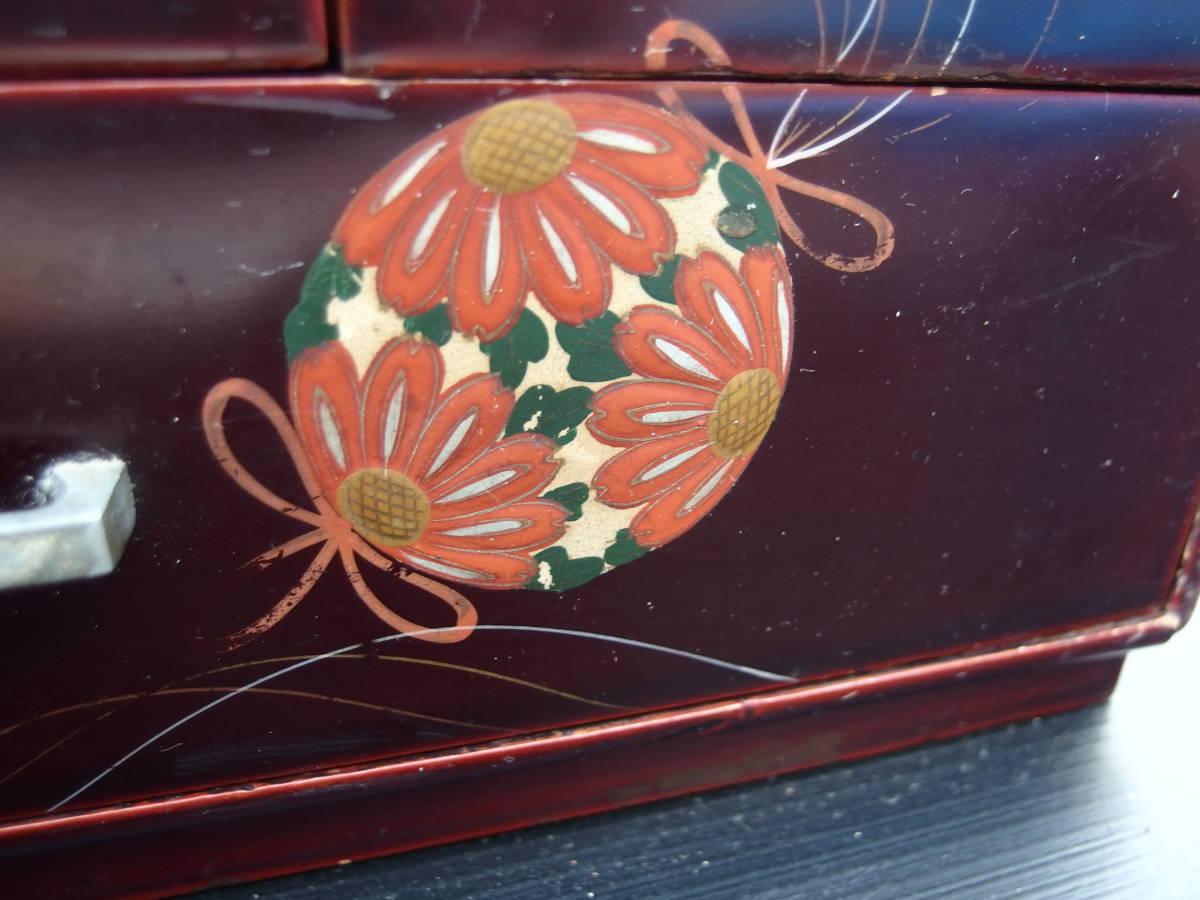 【201103 A】中古 昭和レトロ/アンティーク 小物入れ 裁縫箱 木製 お針箱 上蓋つき収納箱 ソーイングボックス_画像9