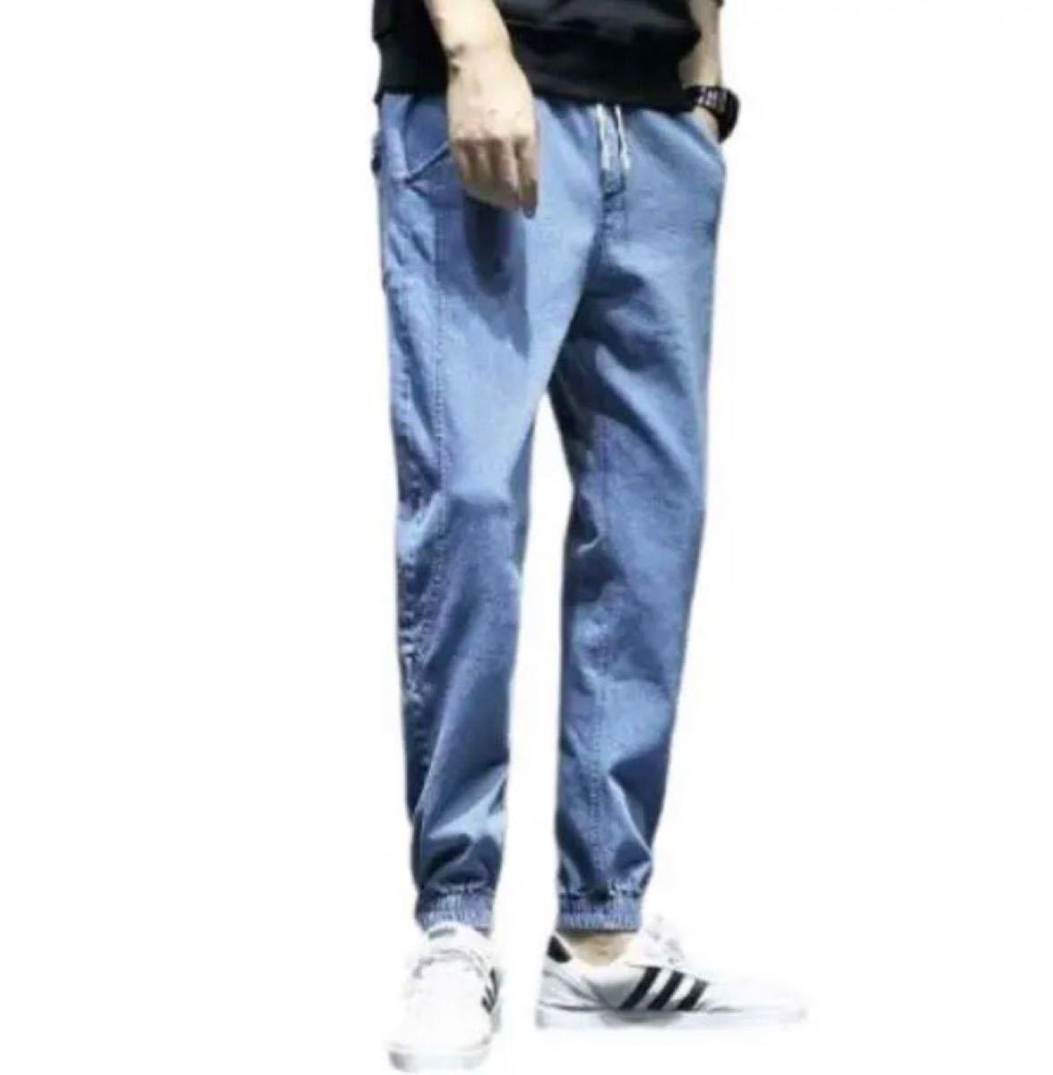 デニム ジョガーパンツ メンズ 男女兼用  筋トレ ストレッチ ダイエット XL