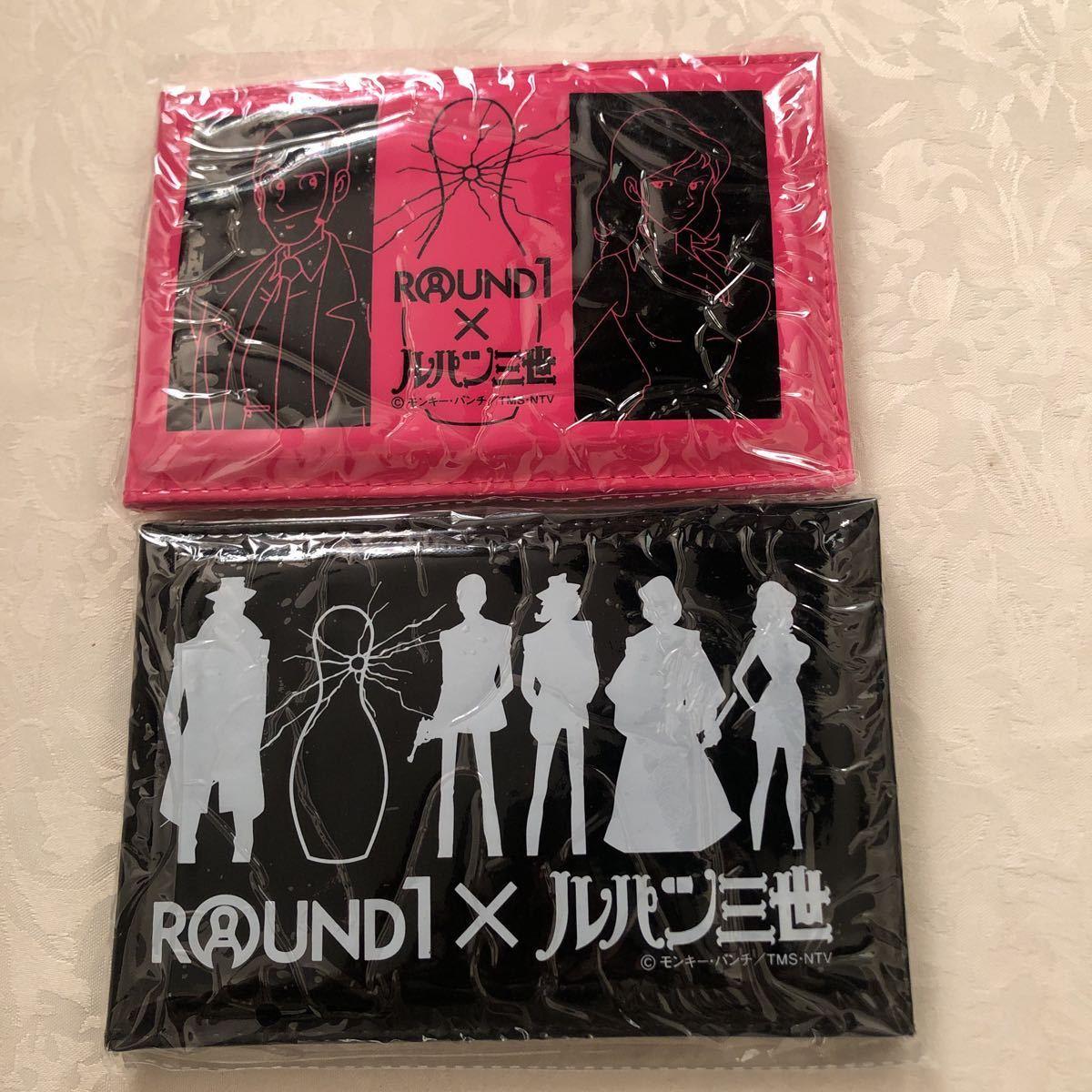 【新品】ROUND1×ルパン三世 モンキー・パンチ/ミラー付きフォトケース黒ピンク/2個セット_画像1