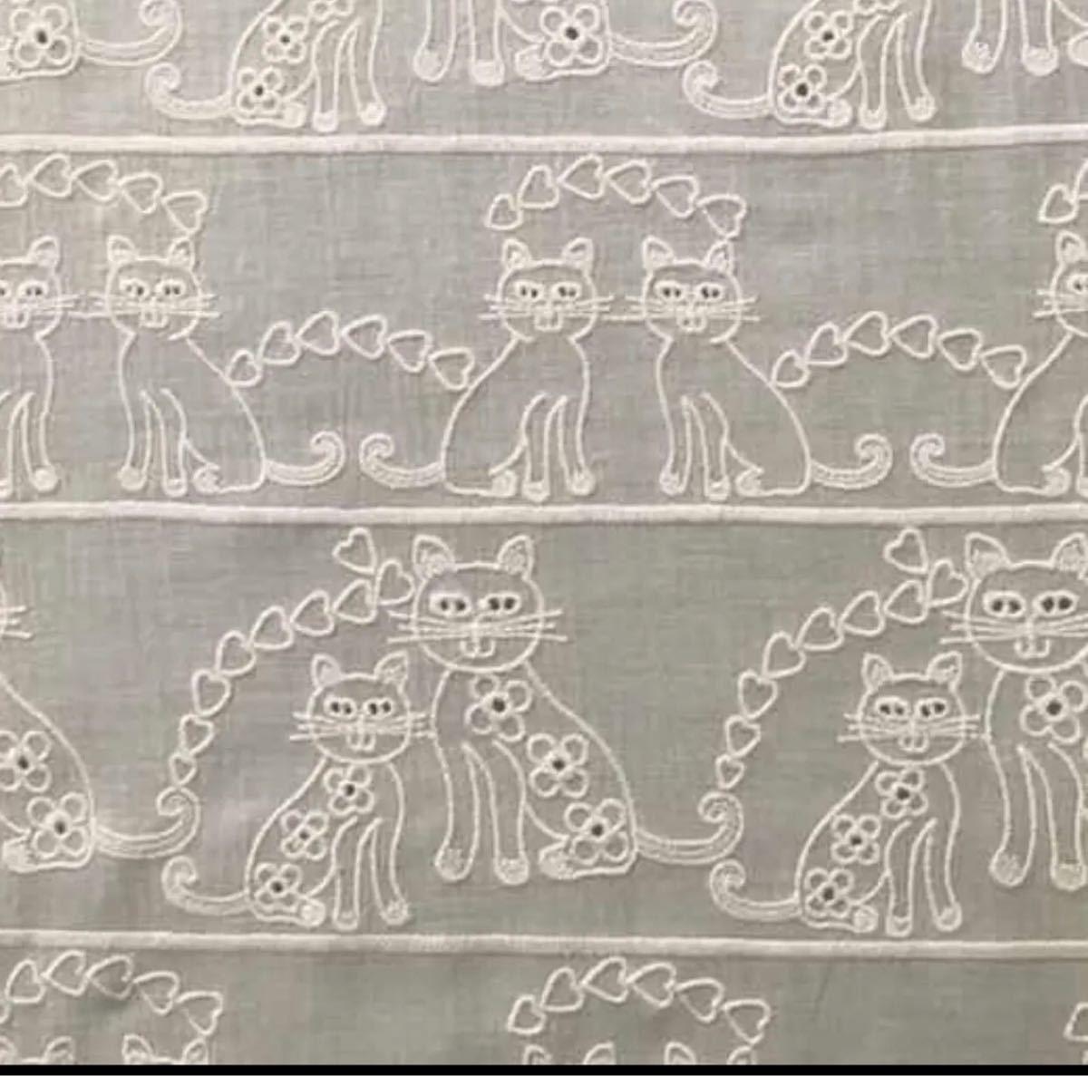 綿レース生地 猫柄 マスク用 LA029