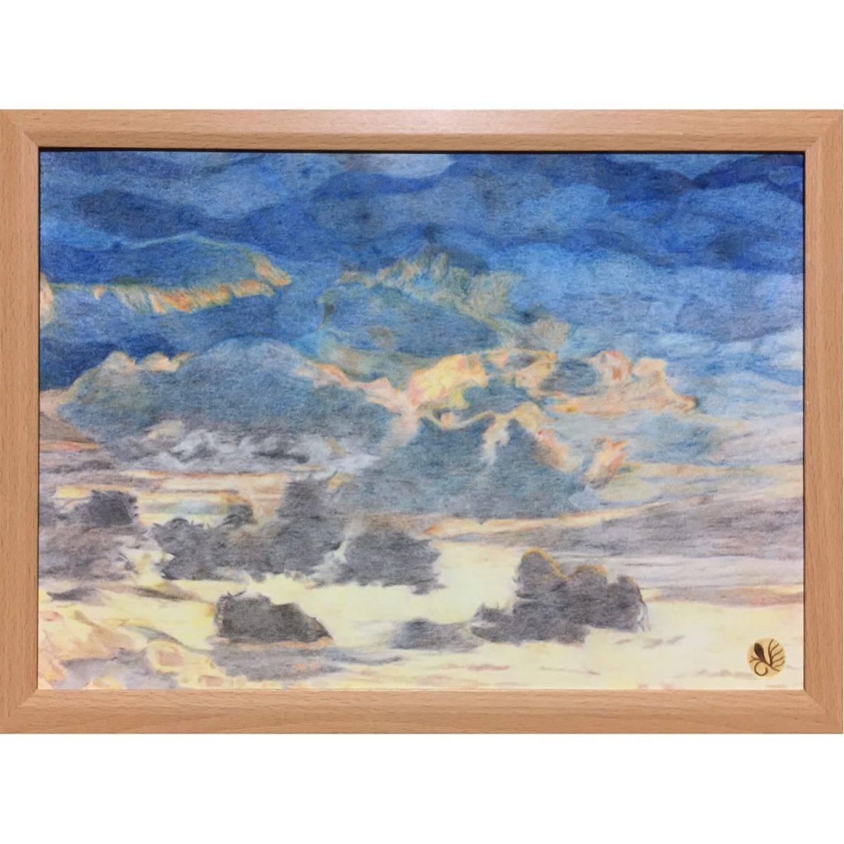 色鉛筆画「 待ちあわせ 」B4・額付き◇◆手描き◇原画◆空・風景画◇◆yotto_画像2