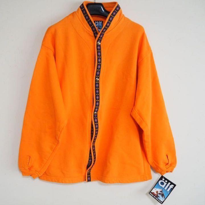 未使用 90's デッドストック alf アルフ スウェット チロリアン ボタン シャツ オレンジ M ヴィンテージ USA製 アウトドア KUHL