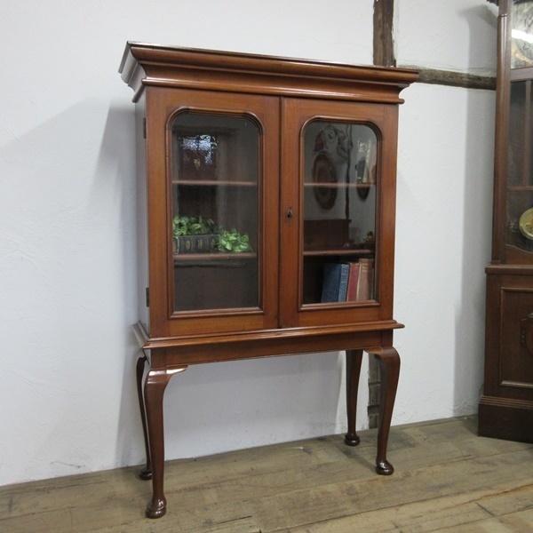 イギリス アンティーク 家具 ブックケース 本棚 飾り棚 収納 猫脚 木製 マホガニー 英国 BOOKCASE 6591b_画像1