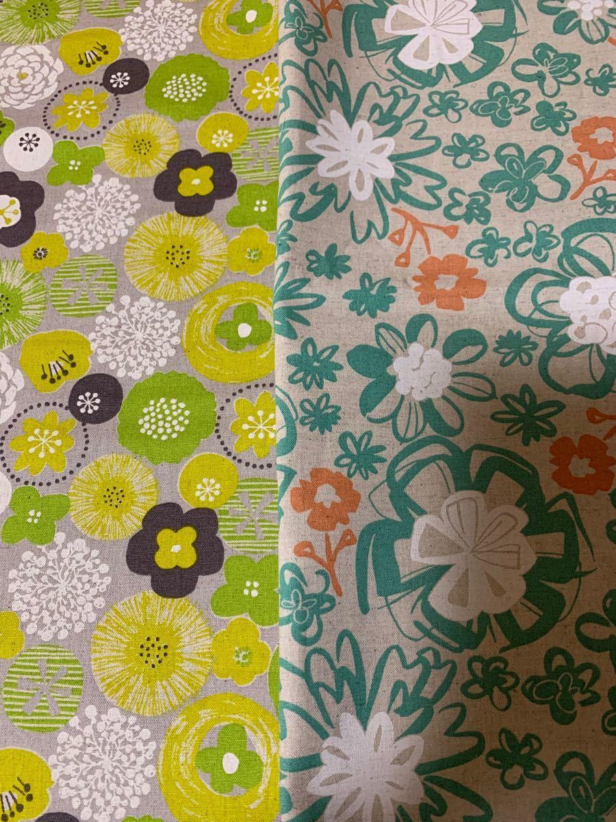 綿麻生地 北欧風お花柄&ナチュラルお花柄セット
