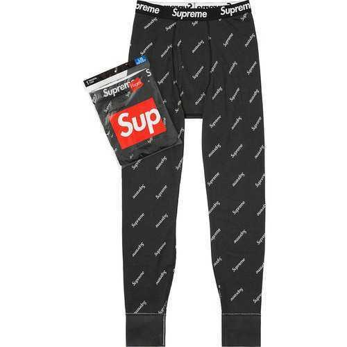 国内購入 S Black 本物 Supreme Hanes Thermal Pant パンツ Pants 黒 Small ヘインズ 20FW サーマル Logos Logo_画像1