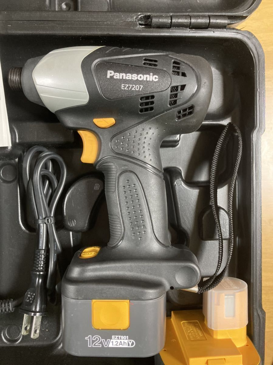 送料無料!Panasonic 充電インパクトドライバー EZ7207RK 黒 ブラック バッテリー2つ 充電器付き!_画像2