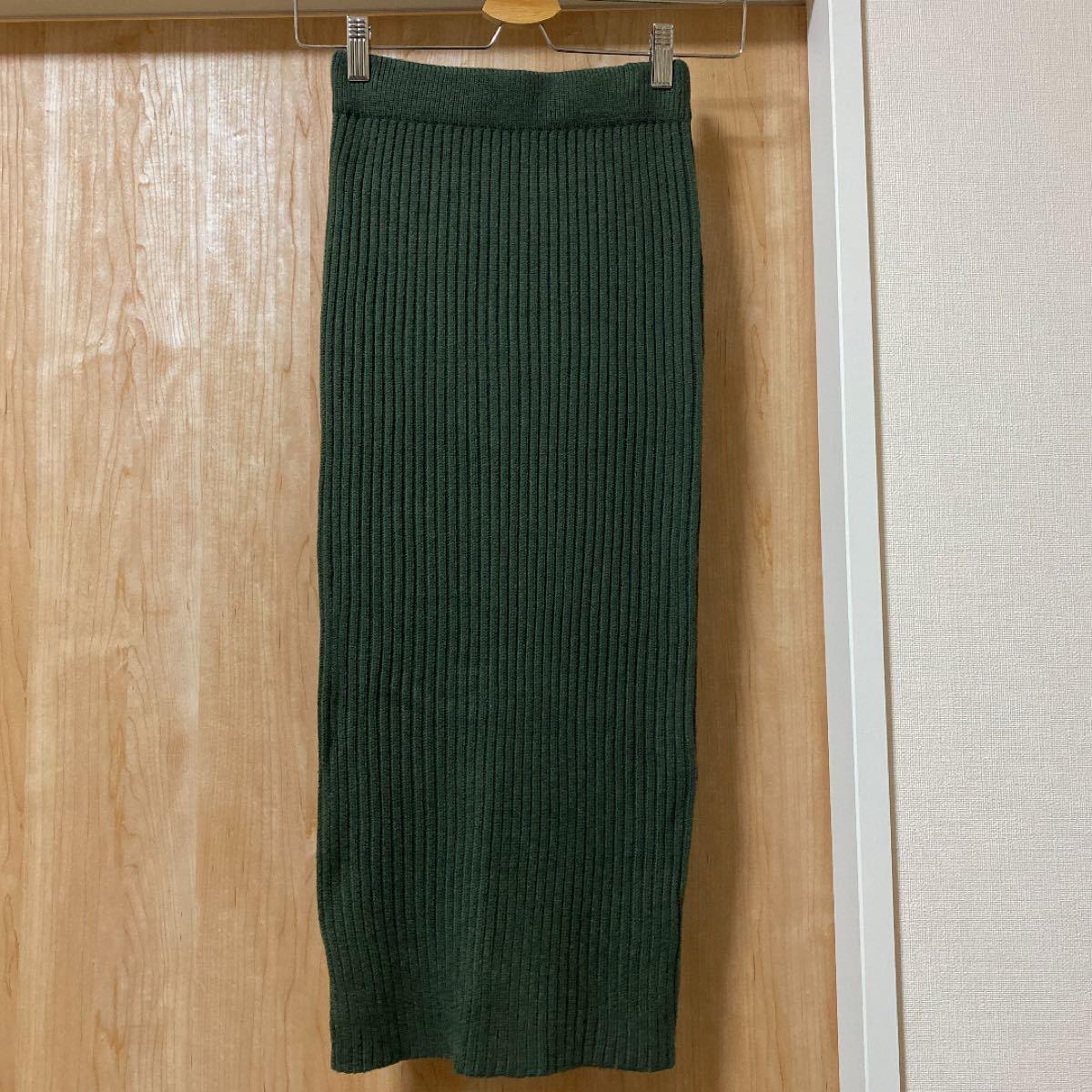 ロングスカート ニットスカート ダークグリーン タイトスカート