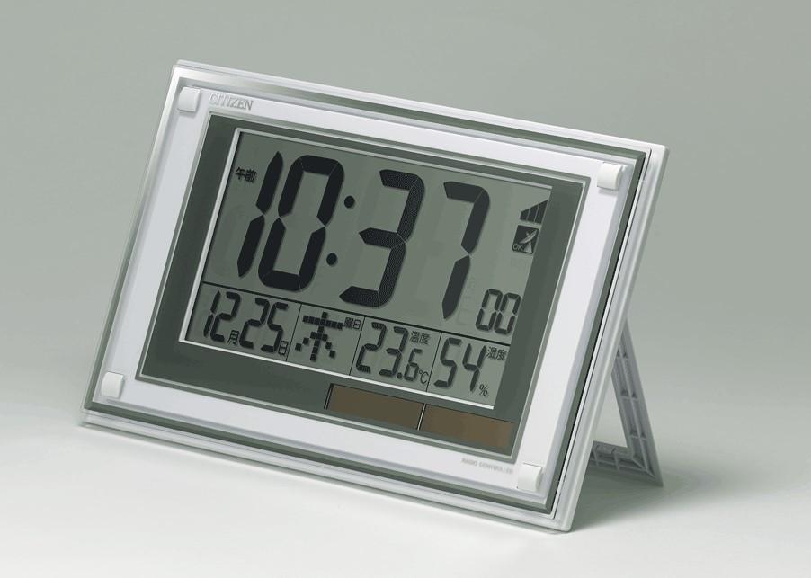 未使用 箱破損 訳あり CITIZEN シチズン リズム時計 電波 デジタル時計 8RZ189-003 掛置兼用 掛時計 置時計 温度計 湿度計 日付 管17_画像1