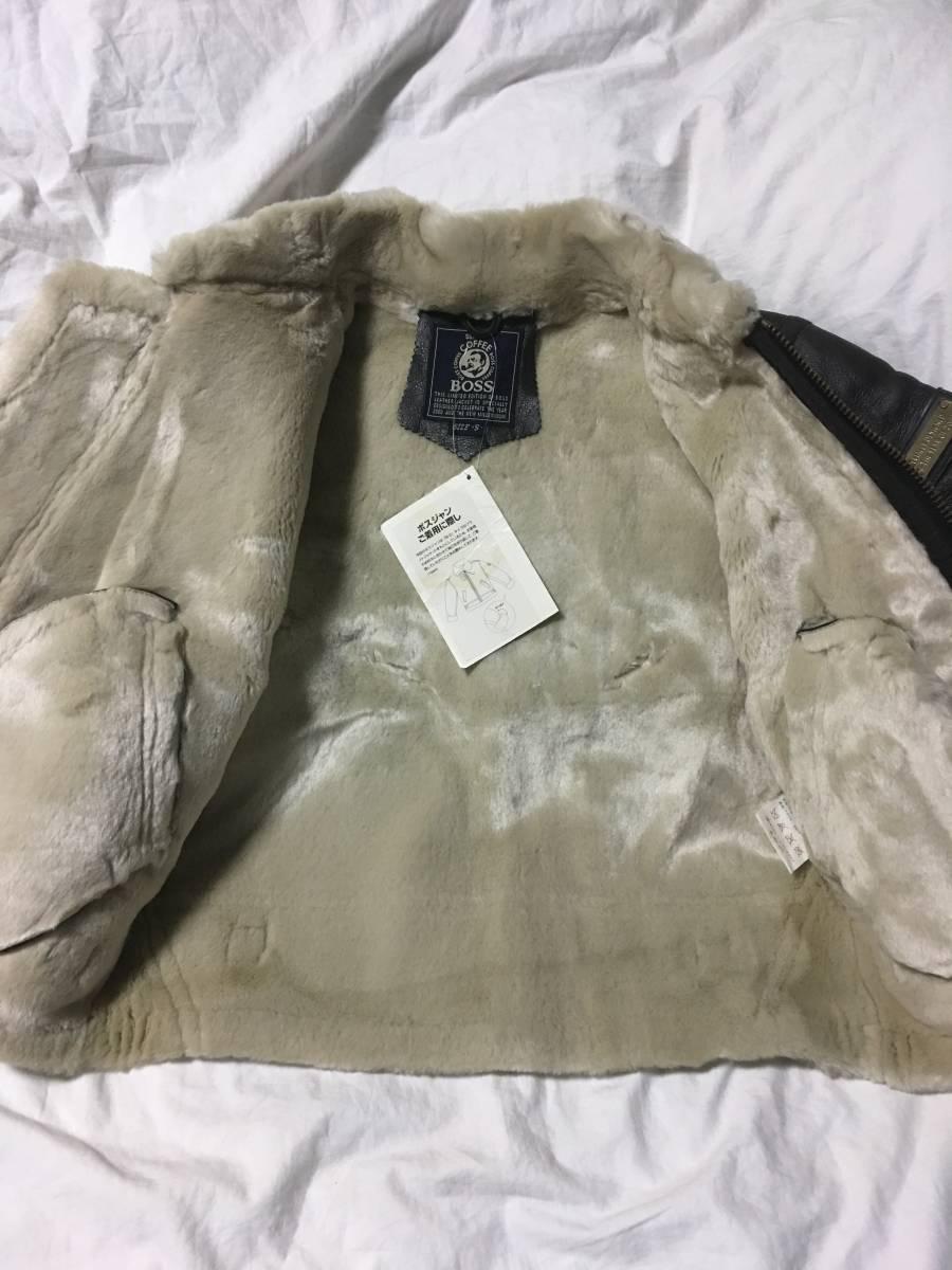 大人気 サントリー ボスジャンS B3 フライト 牛革 ヴィンテージ品 ライダースジャケット 非売品 入手困難 激レア 激安 処分b_中側