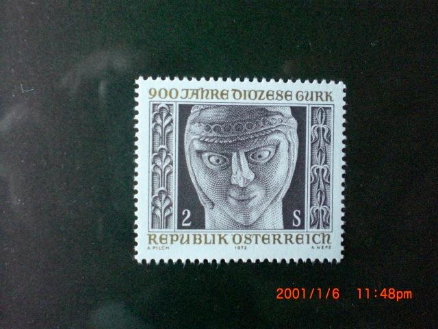 主教管区900年記念―アーモンドアイの人物像 1種完 未使用 1972年 オーストリア共和国 VF/NH_画像1