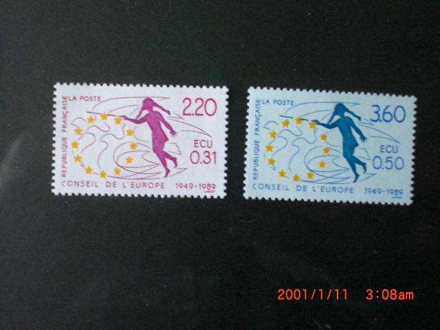 ヨーロッパ委員会40年ー少女と鳩のシルエット 2種完 1989年 未使用 フランス・欧州事務局 VF/NH_画像1