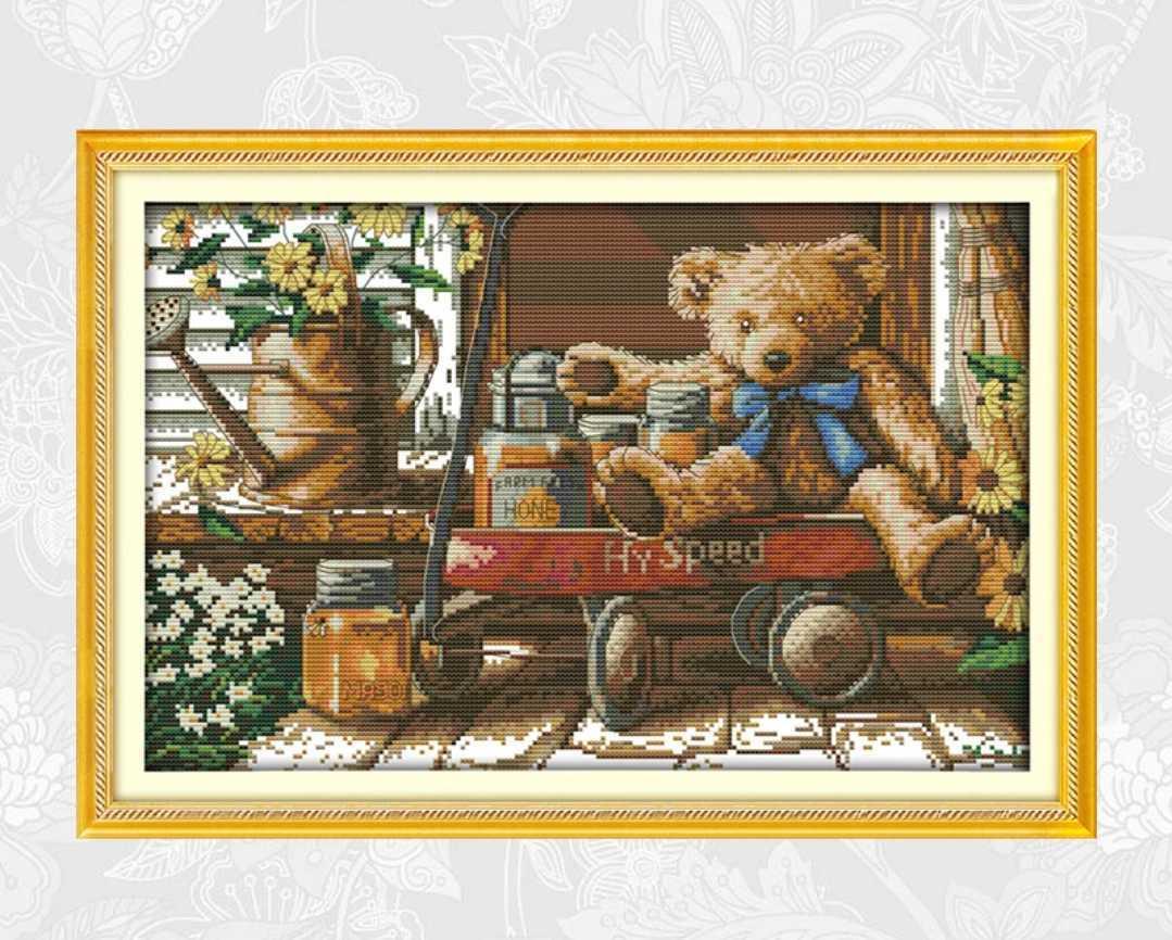 クロスステッチキット 蜂蜜くまさん はちみつ熊 44×30cm 刺繍 手芸