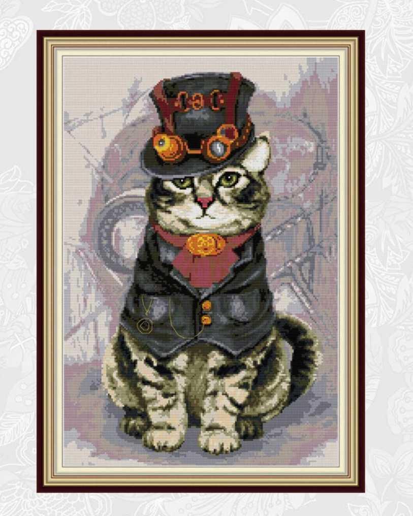 クロスステッチキット スチームキャット38×53cm 猫 ネコ 刺繍 手芸